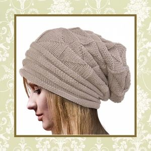 🌸 New tan beanie oversized large unisex cap hat